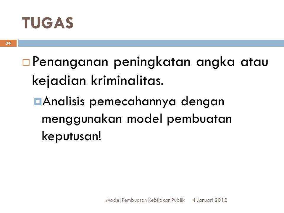 TUGAS 4 Januari 2012 Model Pembuatan Kebijakan Publik 34  Penanganan peningkatan angka atau kejadian kriminalitas.  Analisis pemecahannya dengan men