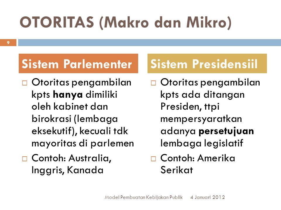 OTORITAS (Makro dan Mikro)  Otoritas pengambilan kpts hanya dimiliki oleh kabinet dan birokrasi (lembaga eksekutif), kecuali tdk mayoritas di parleme