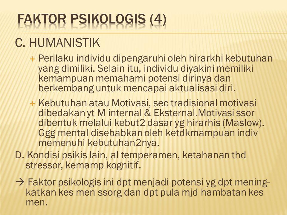 C. HUMANISTIK  Perilaku individu dipengaruhi oleh hirarkhi kebutuhan yang dimiliki.