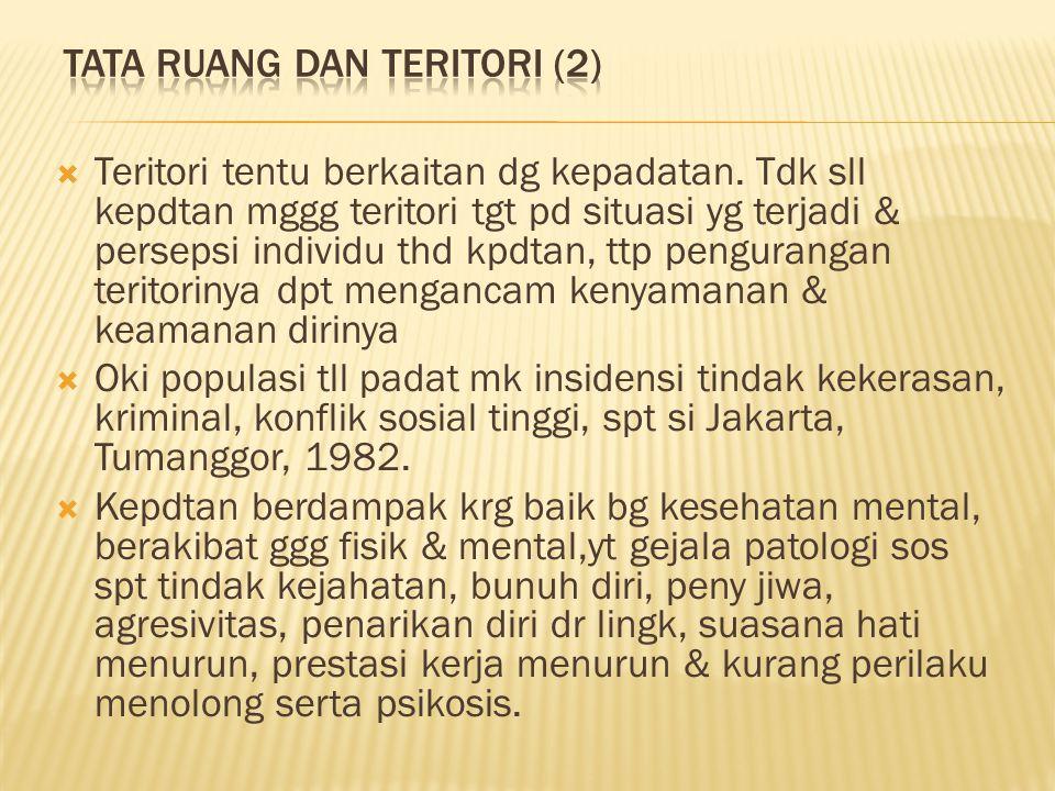  Teritori tentu berkaitan dg kepadatan.