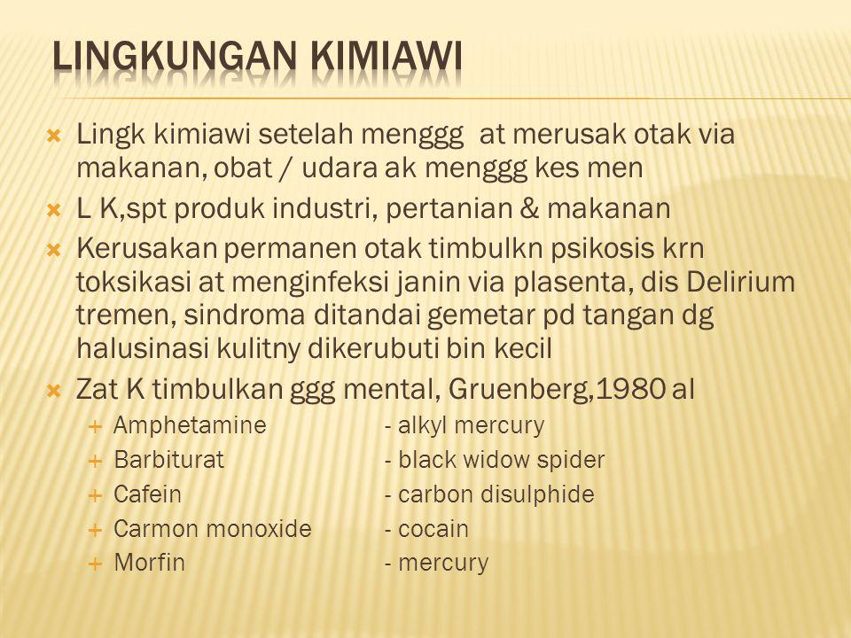  Lingk kimiawi setelah menggg at merusak otak via makanan, obat / udara ak menggg kes men  L K,spt produk industri, pertanian & makanan  Kerusakan permanen otak timbulkn psikosis krn toksikasi at menginfeksi janin via plasenta, dis Delirium tremen, sindroma ditandai gemetar pd tangan dg halusinasi kulitny dikerubuti bin kecil  Zat K timbulkan ggg mental, Gruenberg,1980 al  Amphetamine- alkyl mercury  Barbiturat- black widow spider  Cafein - carbon disulphide  Carmon monoxide- cocain  Morfin- mercury