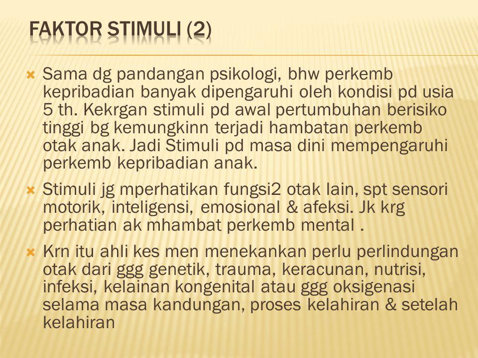  Sama dg pandangan psikologi, bhw perkemb kepribadian banyak dipengaruhi oleh kondisi pd usia 5 th.