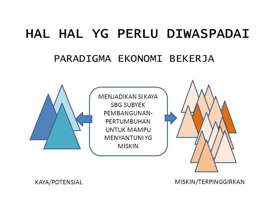 HAL HAL YG PERLU DIWASPADAI PARADIGMA EKONOMI BEKERJA MENJADIKAN SI KAYA SBG SUBYEK PEMBANGUNAN- PERTUMBUHAN UNTUK MAMPU MENYANTUNI YG MISKIN KAYA/POTENSIAL MISKIN/TERPINGGIRKAN