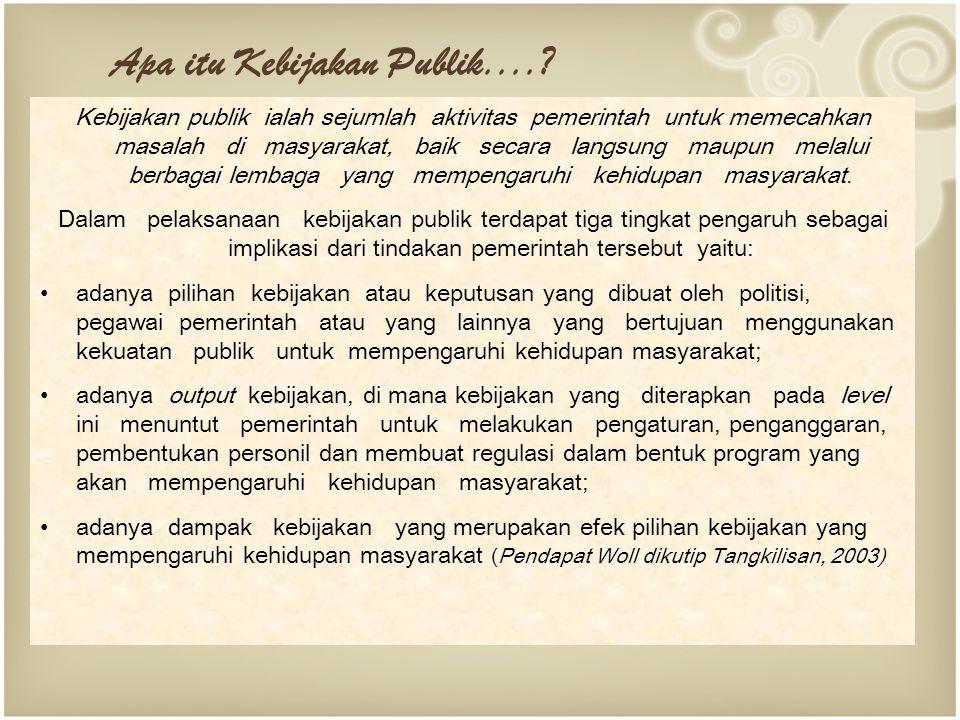 Kebijakan publik ialah sejumlah aktivitas pemerintah untuk memecahkan masalah di masyarakat, baik secara langsung maupun melalui berbagai lembaga yang mempengaruhi kehidupan masyarakat.