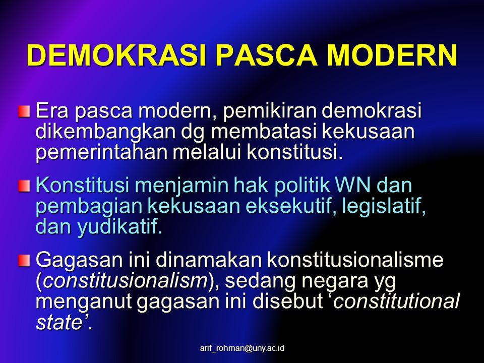 DEMOKRASI PASCA MODERN Era pasca modern, pemikiran demokrasi dikembangkan dg membatasi kekusaan pemerintahan melalui konstitusi. Konstitusi menjamin h