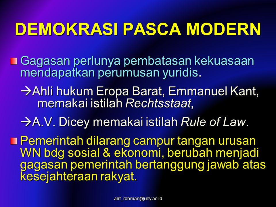 DEMOKRASI PASCA MODERN Gagasan perlunya pembatasan kekuasaan mendapatkan perumusan yuridis.  Ahli hukum Eropa Barat, Emmanuel Kant, memakai istilah R