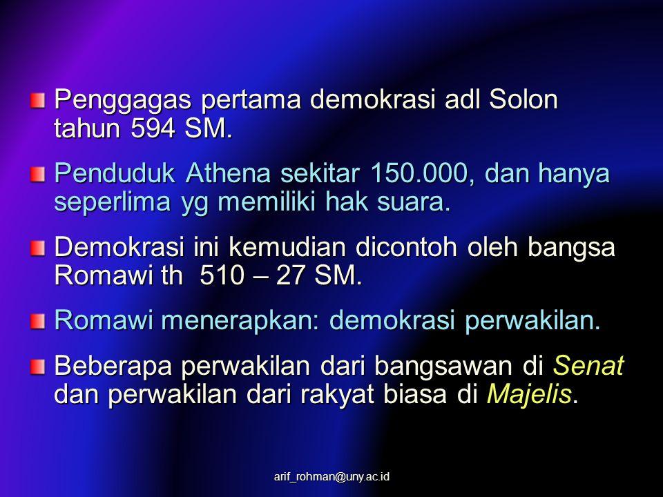 Penggagas pertama demokrasi adl Solon tahun 594 SM.