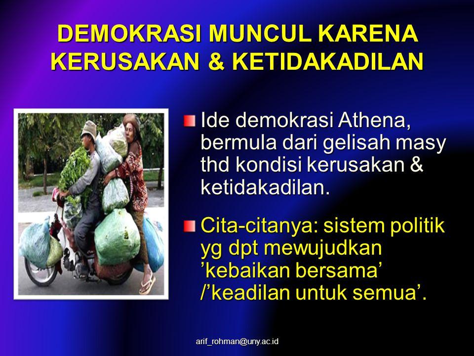 DEMOKRASI MUNCUL KARENA KERUSAKAN & KETIDAKADILAN Ide demokrasi Athena, bermula dari gelisah masy thd kondisi kerusakan & ketidakadilan. Cita-citanya: