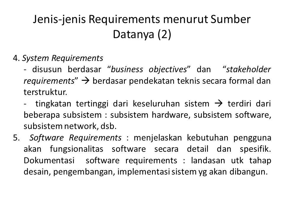 Jenis-jenis Requirements menurut Sumber Datanya (2) 4.