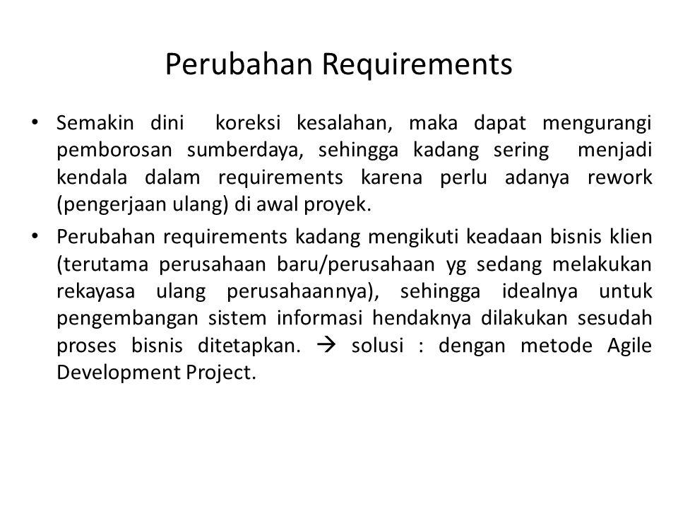 Perubahan Requirements Semakin dini koreksi kesalahan, maka dapat mengurangi pemborosan sumberdaya, sehingga kadang sering menjadi kendala dalam requirements karena perlu adanya rework (pengerjaan ulang) di awal proyek.