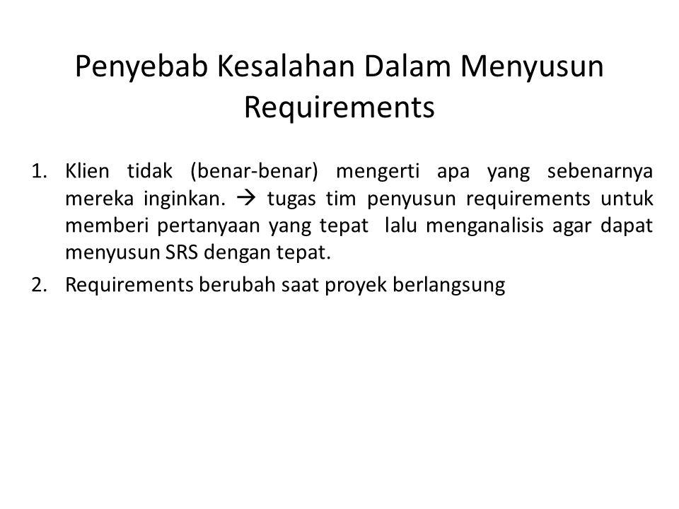 Penyebab Kesalahan Dalam Menyusun Requirements 1.Klien tidak (benar-benar) mengerti apa yang sebenarnya mereka inginkan.