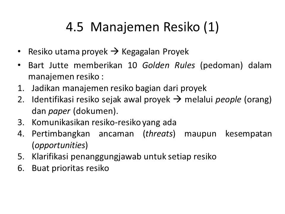 4.5 Manajemen Resiko (1) Resiko utama proyek  Kegagalan Proyek Bart Jutte memberikan 10 Golden Rules (pedoman) dalam manajemen resiko : 1.Jadikan manajemen resiko bagian dari proyek 2.Identifikasi resiko sejak awal proyek  melalui people (orang) dan paper (dokumen).