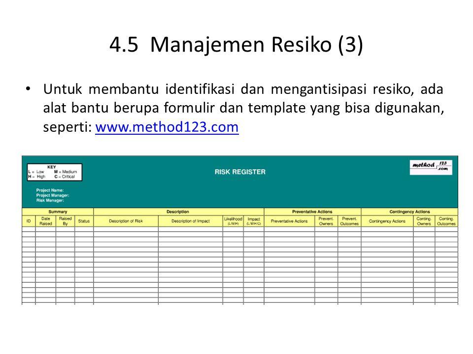 4.5 Manajemen Resiko (3) Untuk membantu identifikasi dan mengantisipasi resiko, ada alat bantu berupa formulir dan template yang bisa digunakan, seperti: www.method123.comwww.method123.com