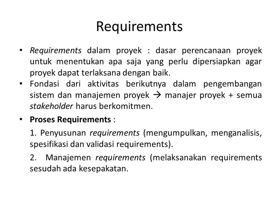 Definisi Requirements Menurut standar IEEE (Guide for Developing System Requirements Spesifications), requirements adalah pernyataan tentang : 1.Fungsionalitas sistem (kapabilitas) 2.Dapat divalidasi 3.Harus sesuai dengan sistem yang berjalan 4.Solusi untuk masalah klien 5.Memenuhi kriteria dengan kondisi terukur dan dibatasi oleh constraints.