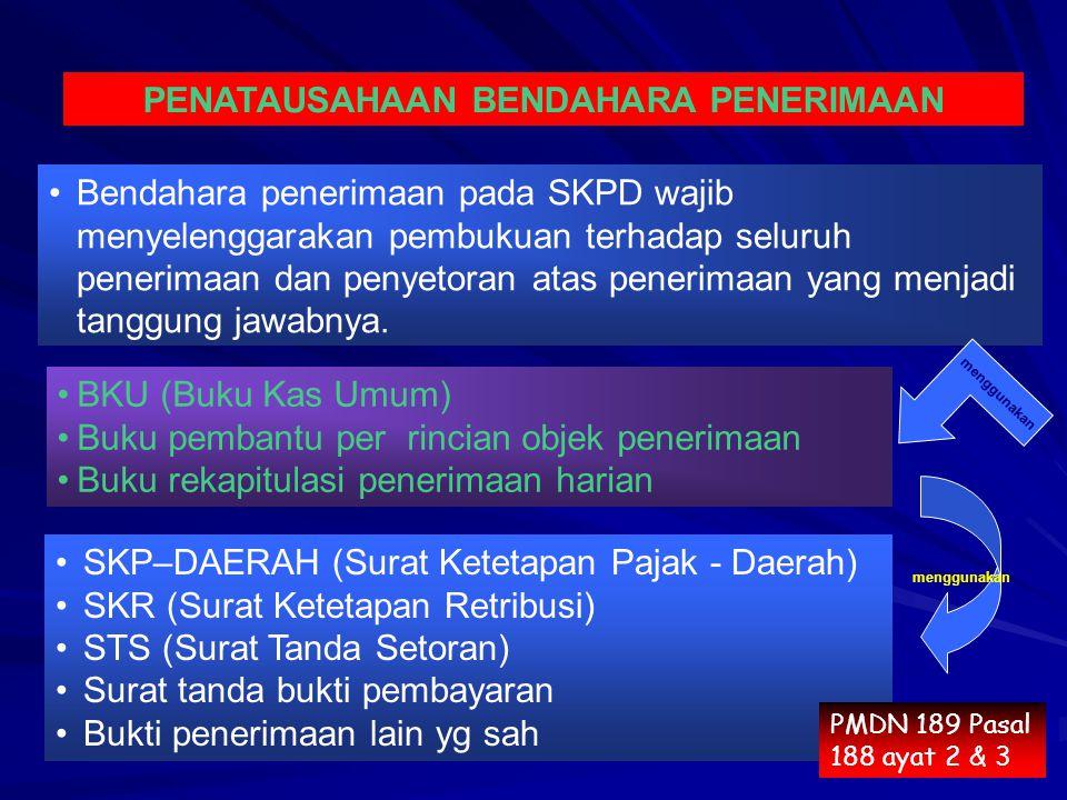 Bendahara penerimaan pada SKPD wajib menyelenggarakan pembukuan terhadap seluruh penerimaan dan penyetoran atas penerimaan yang menjadi tanggung jawabnya.