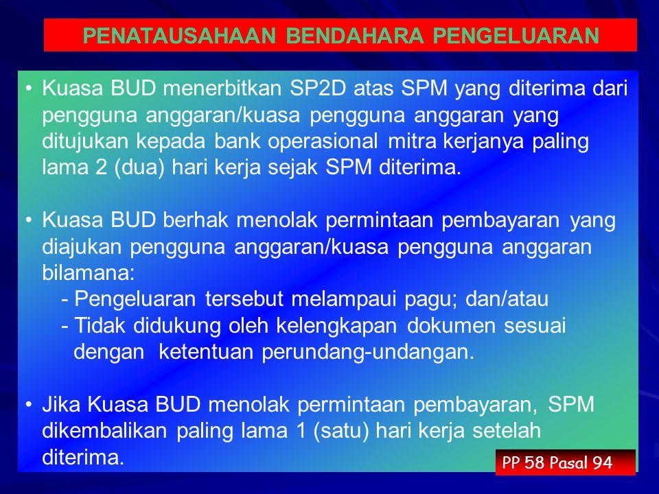 Kuasa BUD menerbitkan SP2D atas SPM yang diterima dari pengguna anggaran/kuasa pengguna anggaran yang ditujukan kepada bank operasional mitra kerjanya paling lama 2 (dua) hari kerja sejak SPM diterima.