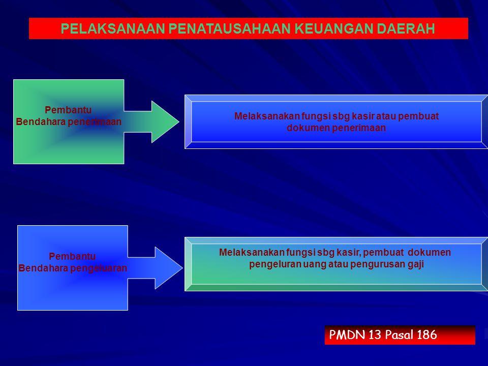 PMDN 13 Pasal 186 PELAKSANAAN PENATAUSAHAAN KEUANGAN DAERAH Melaksanakan fungsi sbg kasir atau pembuat dokumen penerimaan Melaksanakan fungsi sbg kasi