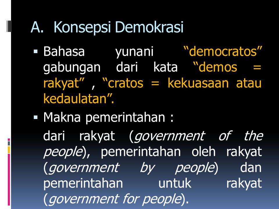 Hakikat makna :  Government of the people = dalam negara demokrasi, legitimasi/keabsahan terhadap siapa yang memerintah (pemerintah) berasal dari kehendak rakyat.