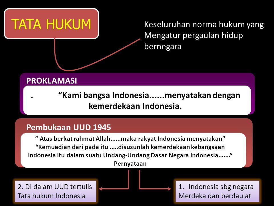 TATA HUKUM adalah Keseluruhan norma hukum yang Mengatur pergaulan hidup bernegara PROKLAMASI. Kami bangsa Indonesia......menyatakan dengan kemerdekaan Indonesia.