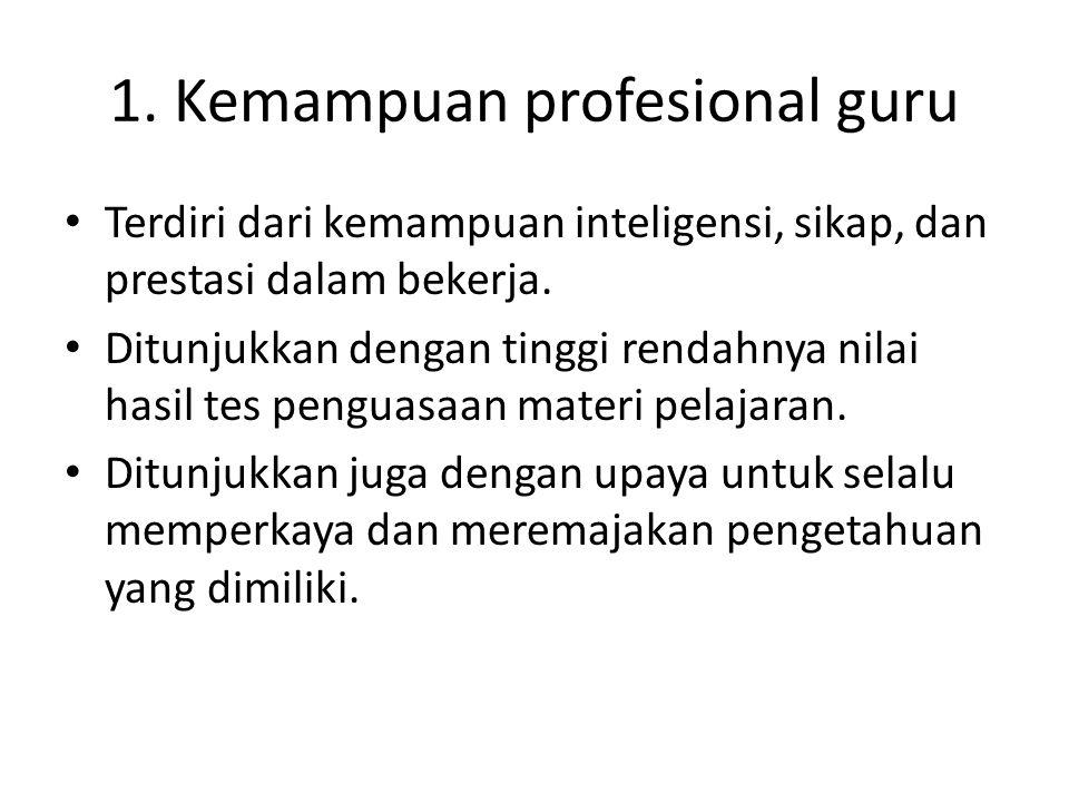 1. Kemampuan profesional guru Terdiri dari kemampuan inteligensi, sikap, dan prestasi dalam bekerja. Ditunjukkan dengan tinggi rendahnya nilai hasil t