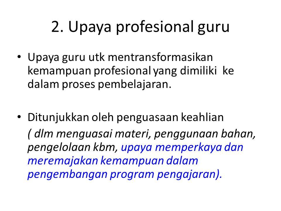 2. Upaya profesional guru Upaya guru utk mentransformasikan kemampuan profesional yang dimiliki ke dalam proses pembelajaran. Ditunjukkan oleh penguas