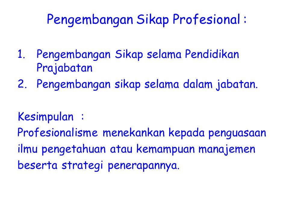 Pengembangan Sikap Profesional : 1.Pengembangan Sikap selama Pendidikan Prajabatan 2.Pengembangan sikap selama dalam jabatan. Kesimpulan : Profesional