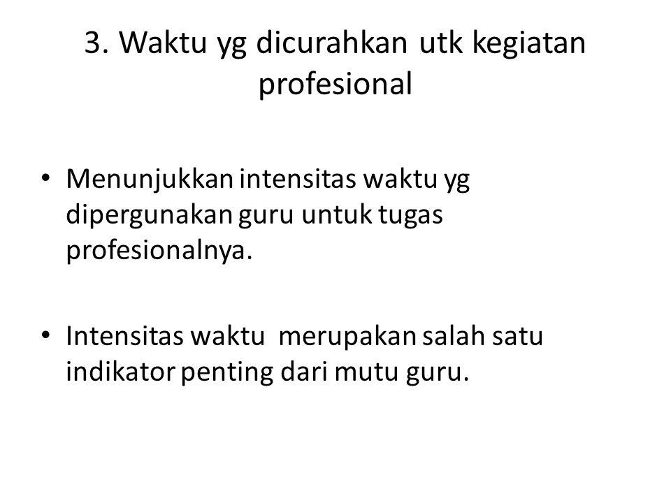 3. Waktu yg dicurahkan utk kegiatan profesional Menunjukkan intensitas waktu yg dipergunakan guru untuk tugas profesionalnya. Intensitas waktu merupak