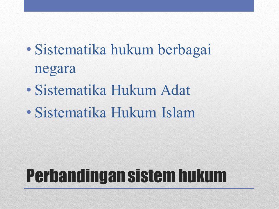Perbandingan sistem hukum Sistematika hukum berbagai negara Sistematika Hukum Adat Sistematika Hukum Islam