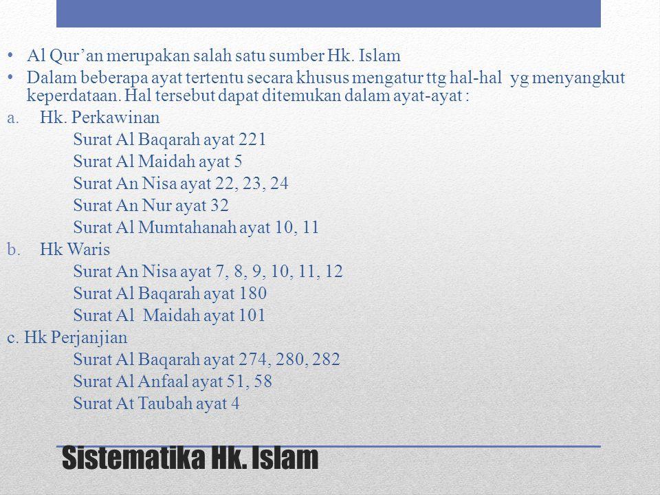 Sistematika Hk. Islam Al Qur'an merupakan salah satu sumber Hk. Islam Dalam beberapa ayat tertentu secara khusus mengatur ttg hal-hal yg menyangkut ke