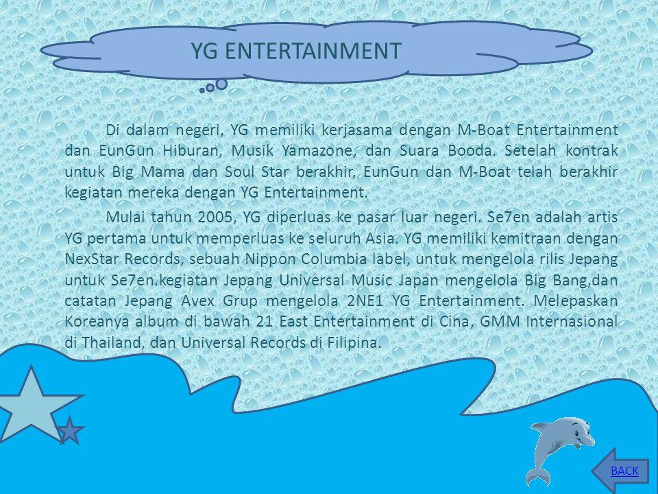 Di dalam negeri, YG memiliki kerjasama dengan M-Boat Entertainment dan EunGun Hiburan, Musik Yamazone, dan Suara Booda.