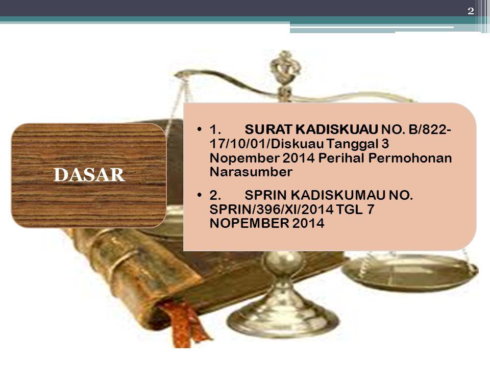 1.SURAT KADISKUAU NO. B/822- 17/10/01/Diskuau Tanggal 3 Nopember 2014 Perihal Permohonan Narasumber 2.SPRIN KADISKUMAU NO. SPRIN/396/XI/2014 TGL 7 NOP