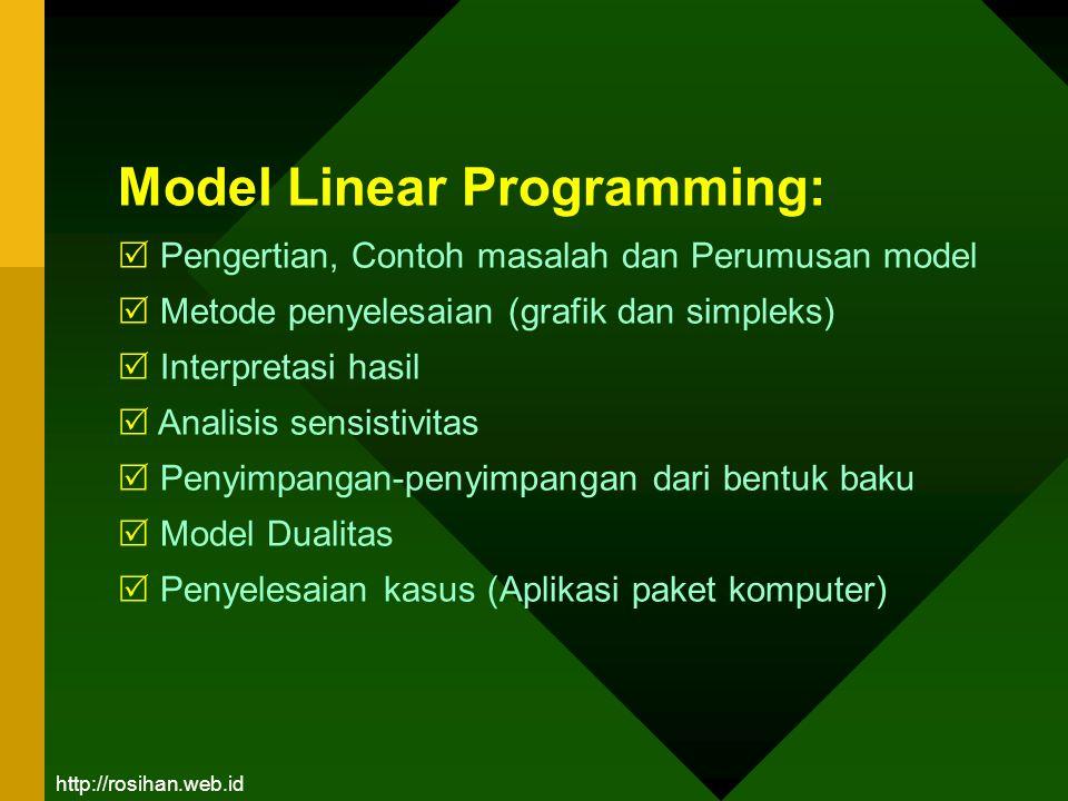Model Linear Programming:  Pengertian, Contoh masalah dan Perumusan model  Metode penyelesaian (grafik dan simpleks)  Interpretasi hasil  Analisis