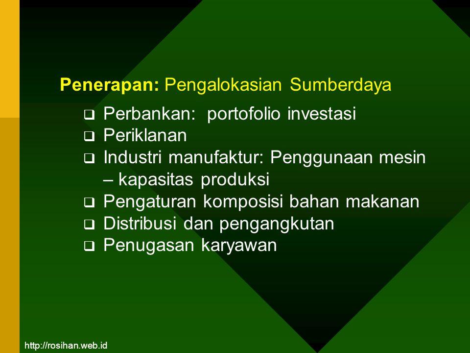 Penerapan: Pengalokasian Sumberdaya  Perbankan: portofolio investasi  Periklanan  Industri manufaktur: Penggunaan mesin – kapasitas produksi  Peng