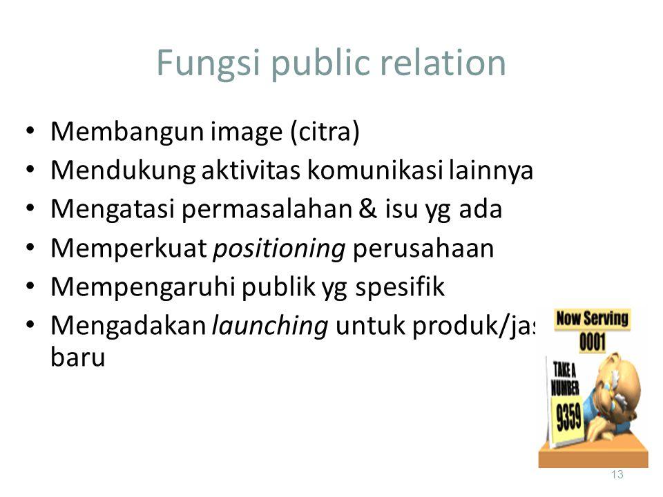 Fungsi public relation 13 Membangun image (citra) Mendukung aktivitas komunikasi lainnya Mengatasi permasalahan & isu yg ada Memperkuat positioning perusahaan Mempengaruhi publik yg spesifik Mengadakan launching untuk produk/jasa baru