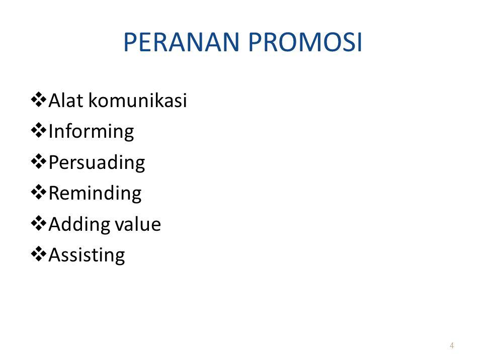 PERANAN PROMOSI  Alat komunikasi  Informing  Persuading  Reminding  Adding value  Assisting 4
