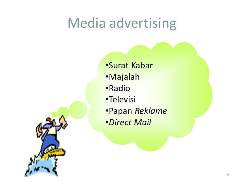 Media advertising 8 Surat kabar Majalah Radio Televisi Papan reklame Direct mail Surat Kabar Majalah Radio Televisi Papan Reklame Direct Mail