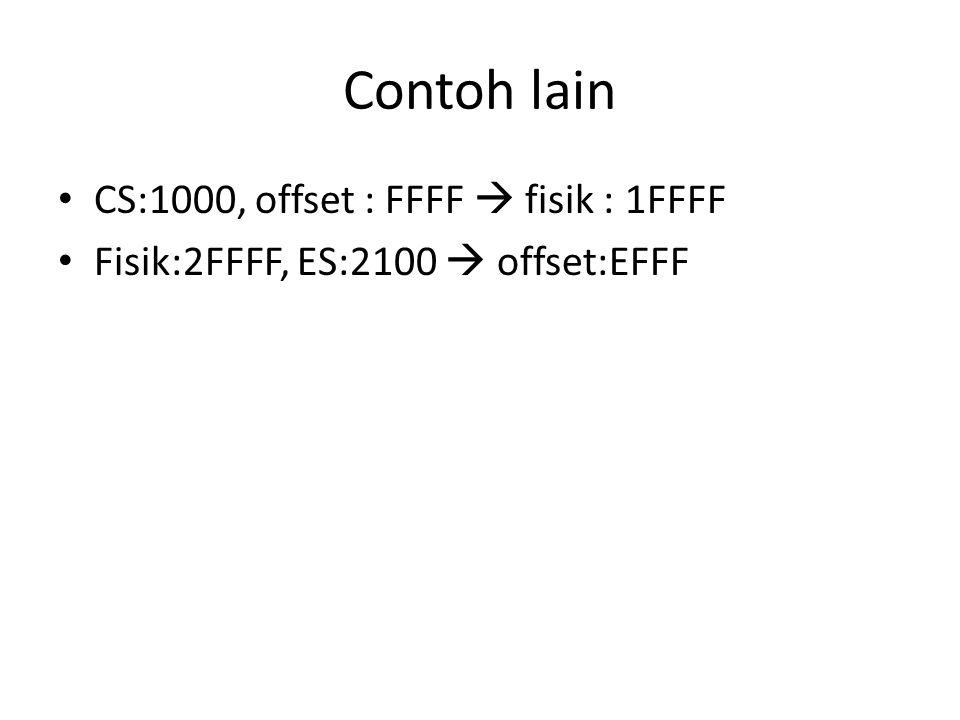 Contoh lain CS:1000, offset : FFFF  fisik : 1FFFF Fisik:2FFFF, ES:2100  offset:EFFF