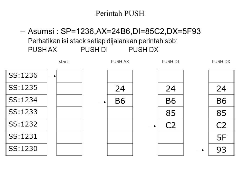 Perintah PUSH –Asumsi : SP=1236,AX=24B6,DI=85C2,DX=5F93 Perhatikan isi stack setiap dijalankan perintah sbb: PUSH AXPUSH DIPUSH DX PUSH DXPUSH DIPUSH AXstart SS:1236 24 SS:1235 B6 SS:1234 85 SS:1233 C2 SS:1232 5F SS:1231 93 SS:1230