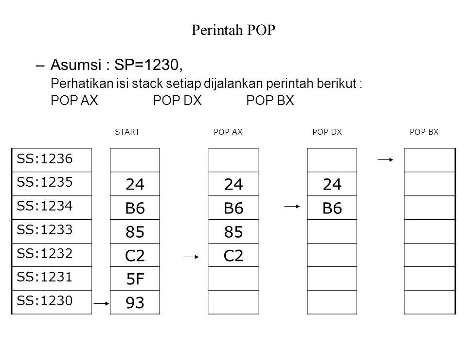 Perintah POP –Asumsi : SP=1230, Perhatikan isi stack setiap dijalankan perintah berikut : POP AXPOP DXPOP BX POP BXPOP DXPOP AXSTART SS:1236 24 SS:1235 B6 SS:1234 85 SS:1233 C2 SS:1232 5F SS:1231 93 SS:1230