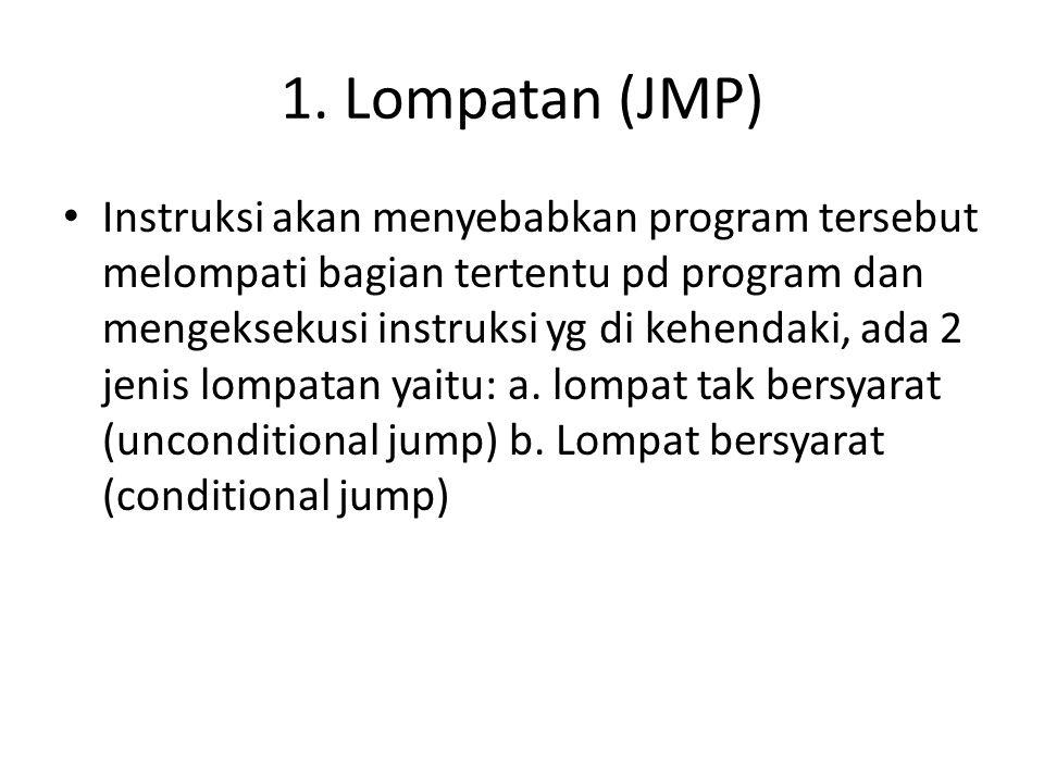 1. Lompatan (JMP) Instruksi akan menyebabkan program tersebut melompati bagian tertentu pd program dan mengeksekusi instruksi yg di kehendaki, ada 2 j