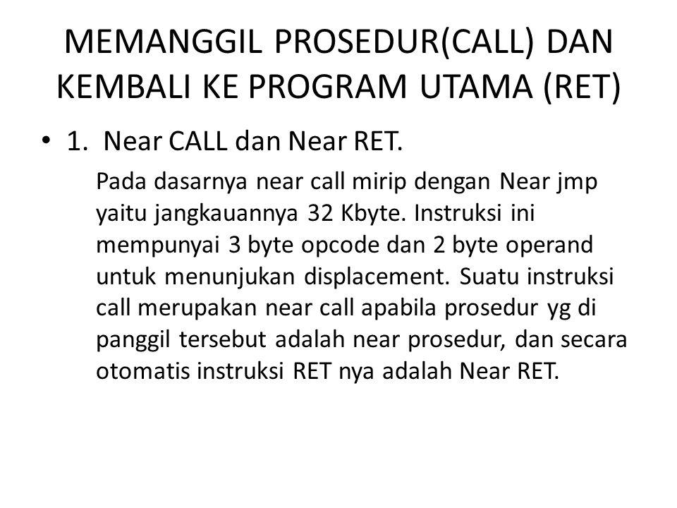 MEMANGGIL PROSEDUR(CALL) DAN KEMBALI KE PROGRAM UTAMA (RET) 1.