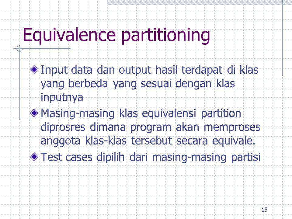 15 Equivalence partitioning Input data dan output hasil terdapat di klas yang berbeda yang sesuai dengan klas inputnya Masing-masing klas equivalensi