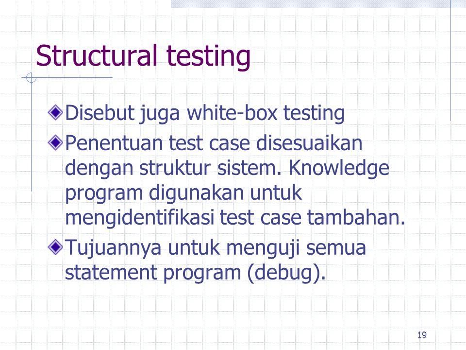 19 Disebut juga white-box testing Penentuan test case disesuaikan dengan struktur sistem. Knowledge program digunakan untuk mengidentifikasi test case
