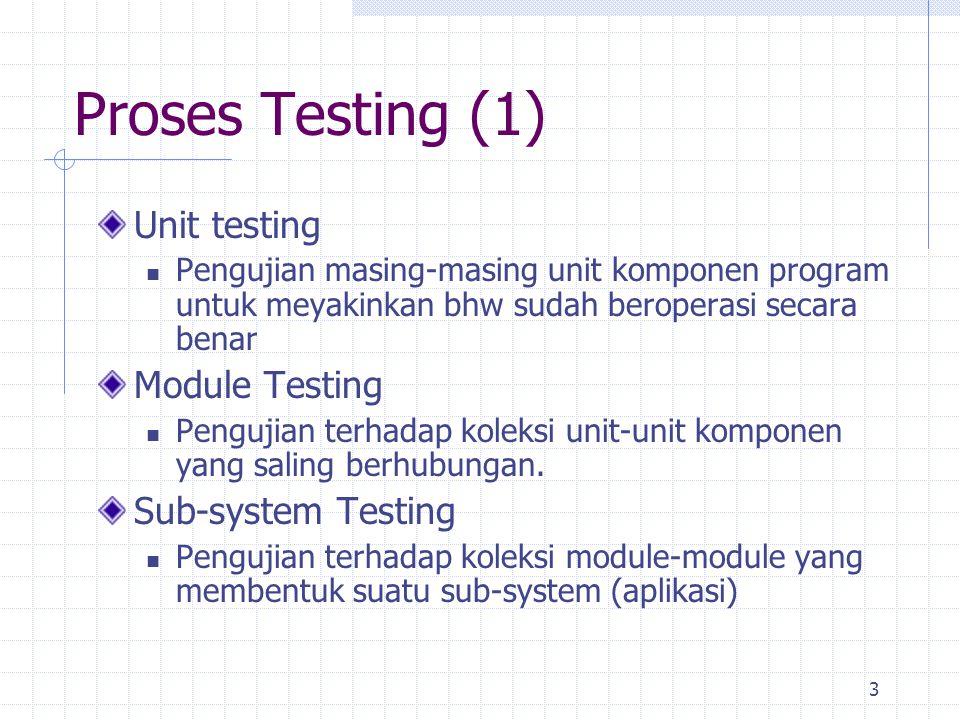 3 Proses Testing (1) Unit testing Pengujian masing-masing unit komponen program untuk meyakinkan bhw sudah beroperasi secara benar Module Testing Peng