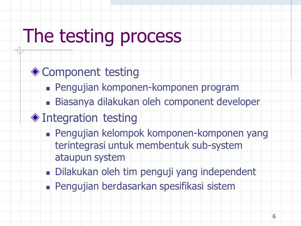 6 The testing process Component testing Pengujian komponen-komponen program Biasanya dilakukan oleh component developer Integration testing Pengujian