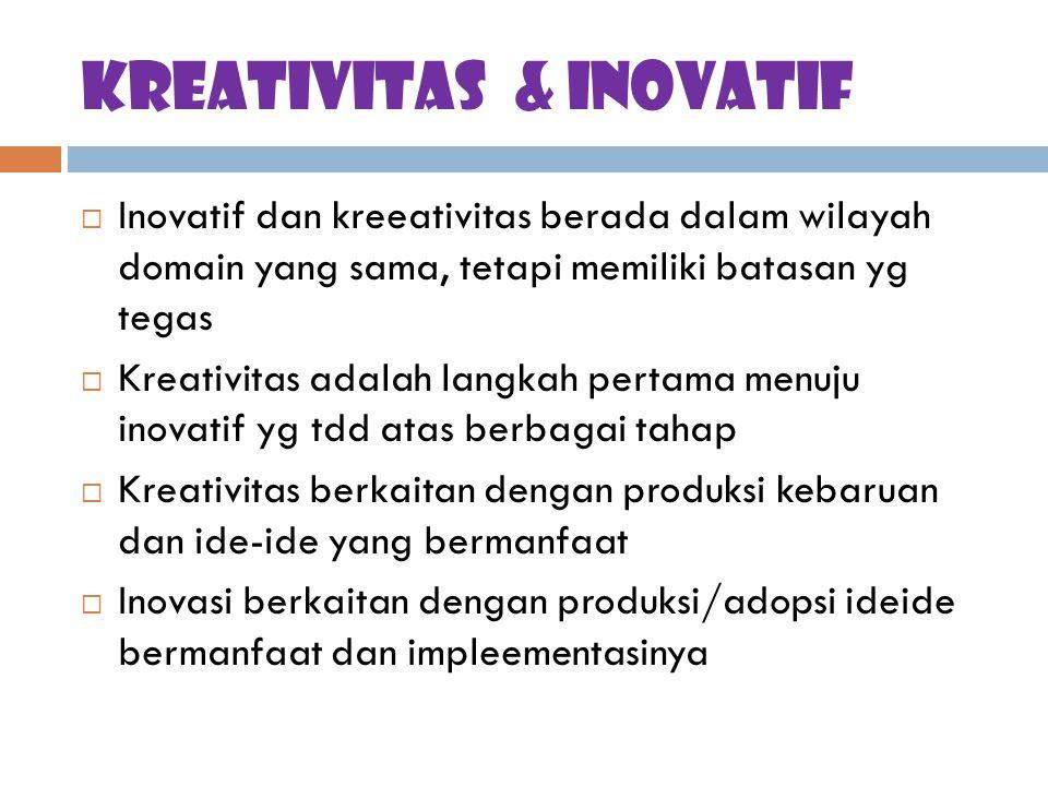 Kreativitas & inovatif  Inovatif dan kreeativitas berada dalam wilayah domain yang sama, tetapi memiliki batasan yg tegas  Kreativitas adalah langka