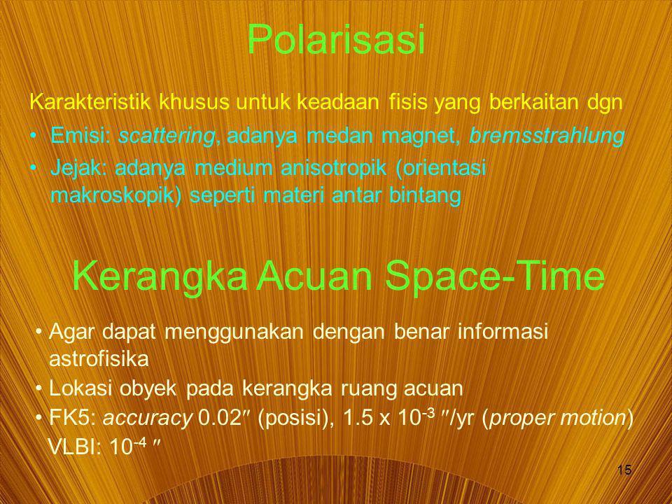 15 Polarisasi Karakteristik khusus untuk keadaan fisis yang berkaitan dgn Emisi: scattering, adanya medan magnet, bremsstrahlung Jejak: adanya medium anisotropik (orientasi makroskopik) seperti materi antar bintang Kerangka Acuan Space-Time Agar dapat menggunakan dengan benar informasi astrofisika Lokasi obyek pada kerangka ruang acuan FK5: accuracy 0.02  (posisi), 1.5 x 10 -3  /yr (proper motion) VLBI: 10 -4 