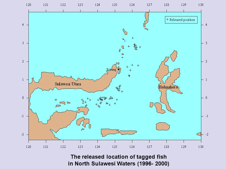 The released location of tagged fish in North Sulawesi Waters (1996- 2000)