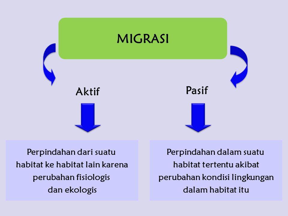 MIGRASI Aktif Pasif Perpindahan dari suatu habitat ke habitat lain karena perubahan fisiologis dan ekologis Perpindahan dalam suatu habitat tertentu a