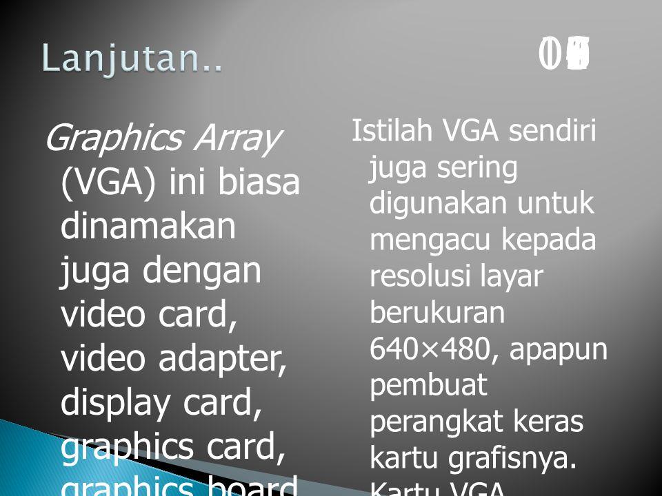Graphics Array (VGA) ini biasa dinamakan juga dengan video card, video adapter, display card, graphics card, graphics board, display adapter atau graphics adapter Istilah VGA sendiri juga sering digunakan untuk mengacu kepada resolusi layar berukuran 640×480, apapun pembuat perangkat keras kartu grafisnya.